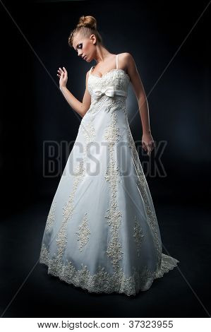 Pretty Bride Blond Hair Woman Posing In Studio