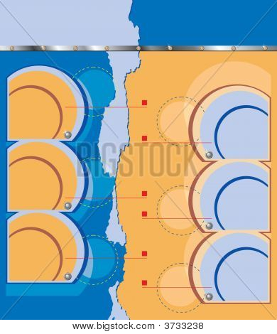 Technical Background With Circles And Rivets