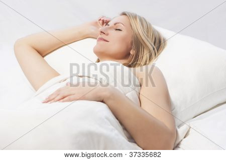 Woman Sleeping With A Nice Smile