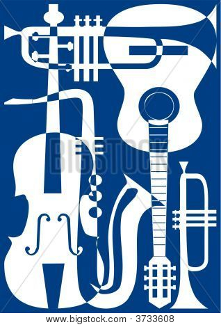 Abstract Blue Musical Instruments, Vector Illustration