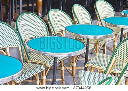 Round tables in a cafe in Paris
