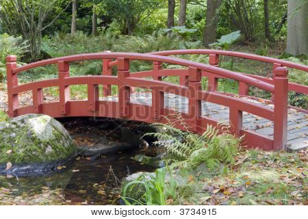 Red Bridge In Park