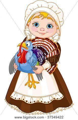 Illustration of cute Pilgrim lady with  turkey