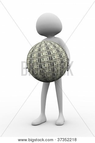 3D Man With Dollar Ball