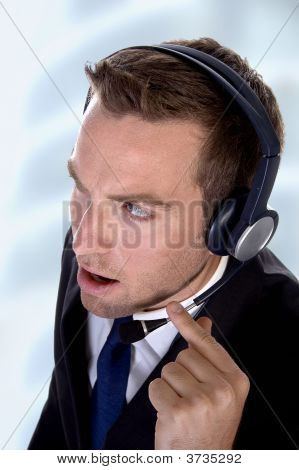 Potrait Young Businessman With Headphones