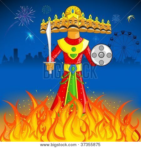 illustration of Raavan Dahan for Dusshera celebration
