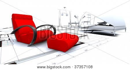 3D furniture in a blueprint interior