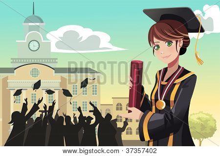 Diploma de graduación Girl Holding