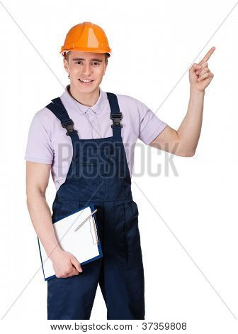 Foreman in orange hard hat and with tablet pointing upward, isolated on white