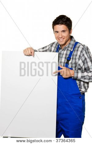 young craftsmen - plumber - construction worker in front of white background