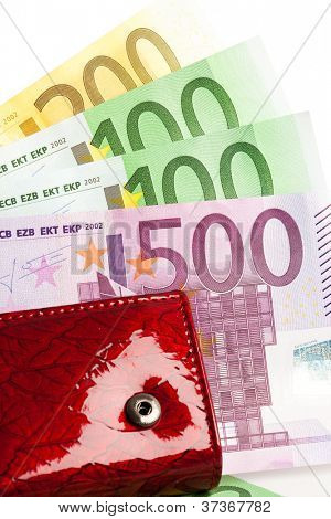 wallet with many euros isolated