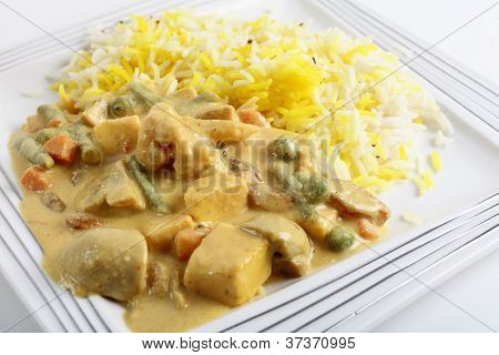 Vegetable korma curry with tofu, on a plate
