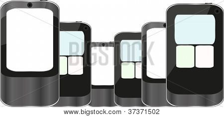 Smart Phones iphones Set Isolated On White Background