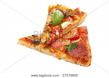Two slices  vegetables pizza and salami, ham and mushrooms pizza isolated on white background