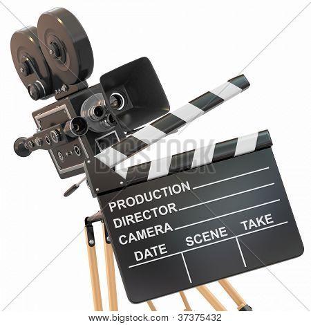 Film-Komposition. Vintage Camera und Klappe.