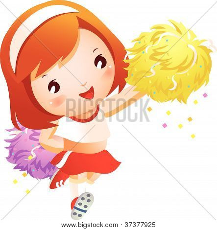Girl cheerleader in uniforms holding pom-pom