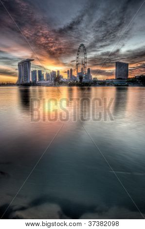 vertical singapore cityscape sunset