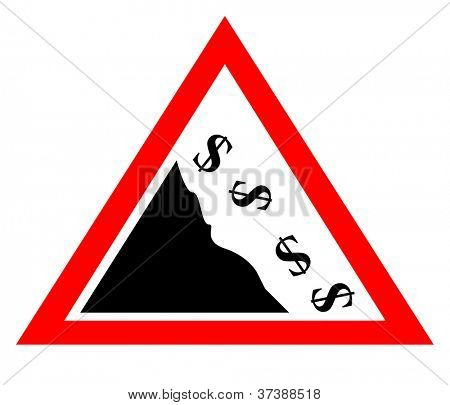 Falling dollar currency concept sign isolated on white background