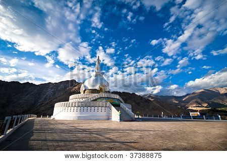 Modern Buddhist Monument Shanti Stupa In The Evening Sunset. Leh, Ladakh, India