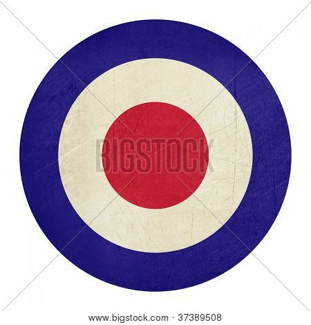 Abstrat grunge British Royal Air Force roundel, also used as symbol of mod music.