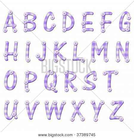 Purple Gingham And Flower Alphabet Letters