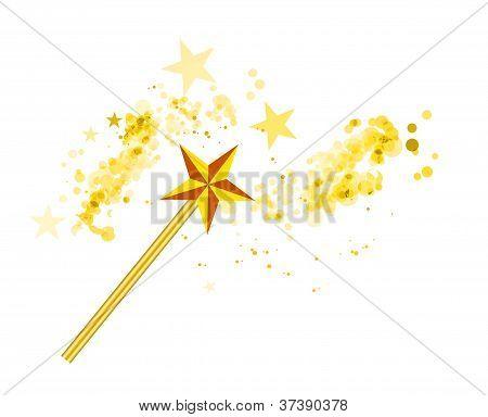 Varita mágica con las estrellas mágicas en blanco