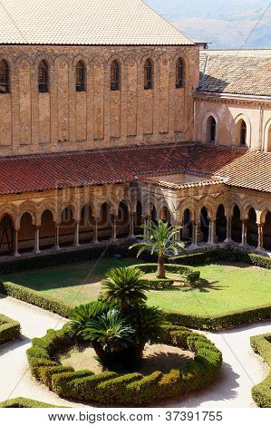 The cloister of the Monreale Cathedral in Sicily