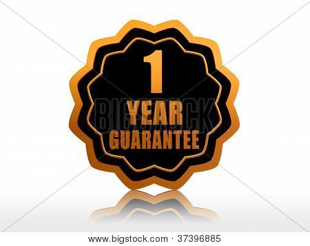 One Year Guarantee Starlike Label.