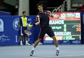 KUALA LUMPUR - SEP 27: Kei Nishikori of Japan plays his round 2 match at the ATP Tour Malaysian Open