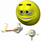 stock photo of feeling stupid  - 3 D Render of an Smiley Sports - JPG