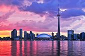 stock photo of urbanisation  - Scenic view at Toronto city waterfront skyline at sunset - JPG