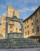 foto of cistern  - Medieval Cistern In walled city of San Gimignano  Italy - JPG
