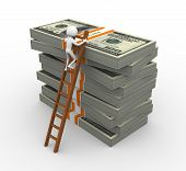 stock photo of ten thousand dollars  - 3d man climbing on ladder to reach on top of stacked dollar packs - JPG