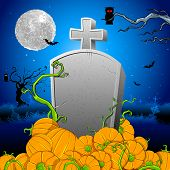 illustration of pumpkin around tomb stone in Halloween night