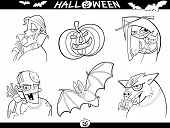 pic of wolfman  - Cartoon Illustration of Halloween Themes Vampire Zombie Witch Werewolf Pumpkin and Bat Funny Set for Coloring Book or Page - JPG