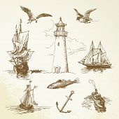 stock photo of brig  - hand drawn nautical elements - JPG