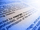 picture of plagiarism  - focus on the word copyright in an agreement or treaty - JPG