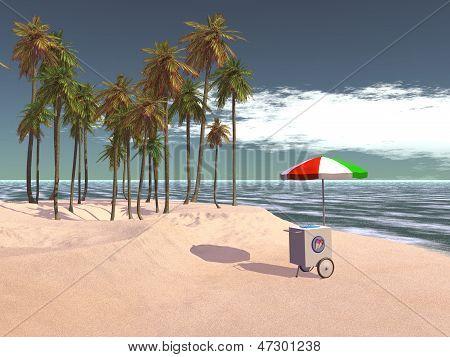 Ice cream push cart at tropical beach