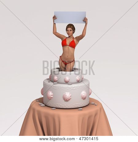Woman getting out of a cake
