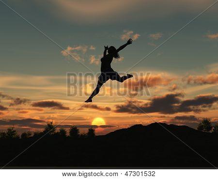 Woman jumping at dawn