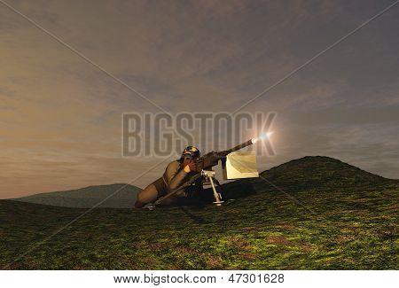 Soldier firing a machine gun