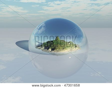 Mountain inside a glass dome