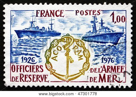 Postage Stamp France 1976 Destroyers, Association Emblem