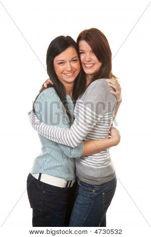 Two Girlfriends In A Tender Embrace