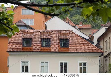 Medieval Architecture Building On Ljubljanica River Ljubljana Slovenia Europe