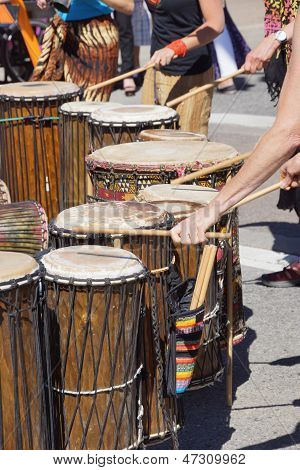 Drummers Playing At A Saturday Market Penticton, British Columbia, Canada..