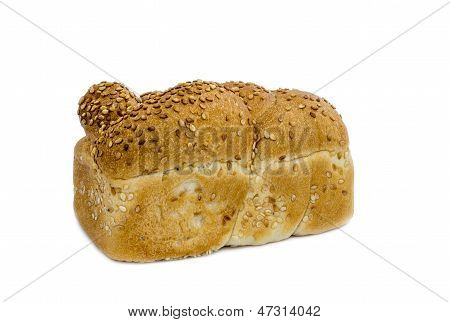 Loaf of challah isolated on white