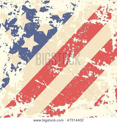 Retro Background with American Flag