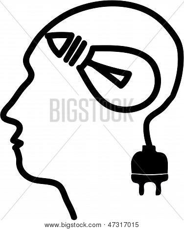 Head With Bulb Symbol And Plug