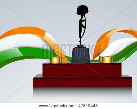 Indian Independence and Republic Day background with illustration of Amar Jawan Jyoti on waving national flag background.